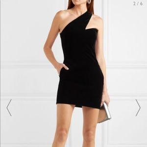 SAINT LAURENT One-shoulder velvet mini dress